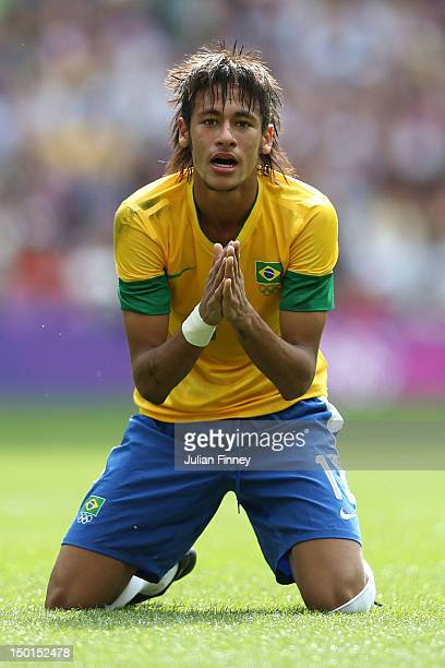 Neymar of Brazil rues a missed chance during the Men's Football Final between Brazil and Mexico on Day 15 of the London 2012 Olympic Games at Wembley...