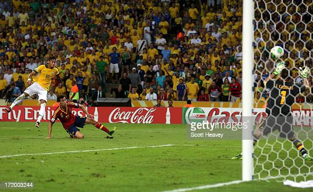 Neymar of Brazil scores his team's second goal to make the score 20 during the FIFA Confederations Cup Brazil 2013 Final match between Brazil and...