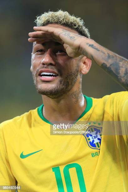 Neymar of Brazil shields his eyes against the lights during the 2018 FIFA World Cup Russia Group E match between Serbia and Brazil at Spartak Stadium...
