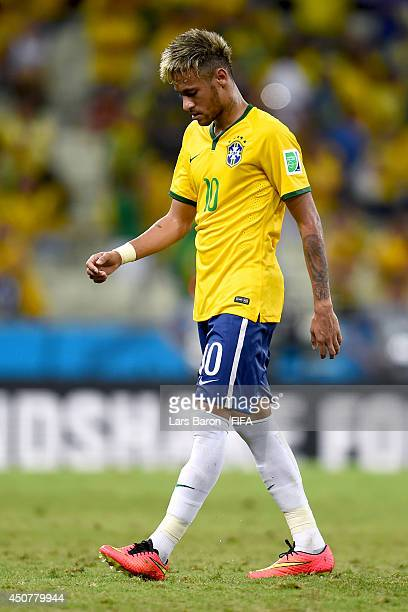 Neymar of Brazil show his dejection during the 2014 FIFA World Cup Brazil Group A match between Brazil and Mexico at Estadio Castelao on June 17 2014...