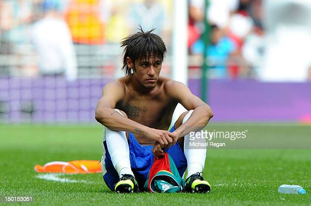 Neymar of Brazil shows his dejection after the Men's Football Final between Brazil and Mexico on Day 15 of the London 2012 Olympic Games at Wembley...