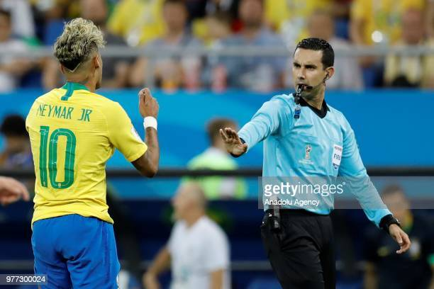 Neymar of Brazil speaks with the referee of the match during 2018 FIFA World Cup Russia Group E match between Brazil and Switzerland at Rostov Arena...