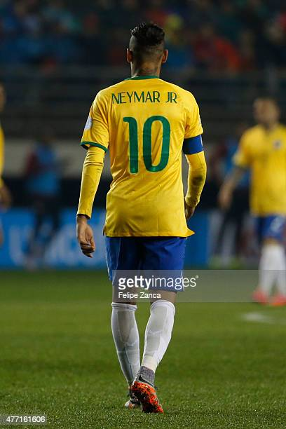 Neymar of Brazil walks on the pitch during the 2015 Copa America Chile Group C match between Brazil and Peru at Municipal Bicentenario Germán Becker...