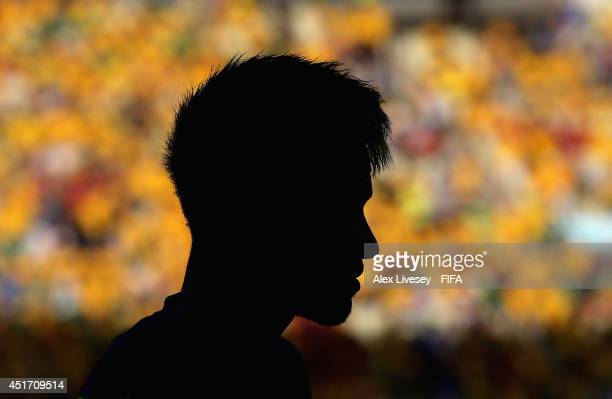 Neymar of Brazil warms up during the 2014 FIFA World Cup Brazil Quarter Final match between Brazil and Colombia at Estadio Castelao on July 4 2014 in...