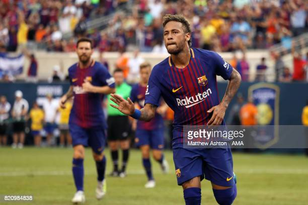 Neymar of FC Barcelona celebrates after scoring a goal to make it 01 during the International Champions Cup 2017 match between Juventus and FC...