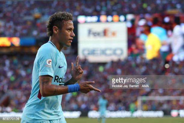Neymar of FC Barcelona celebrates after scoring a goal to make it 10 during the International Champions Cup 2017 match between FC Barcelona and...