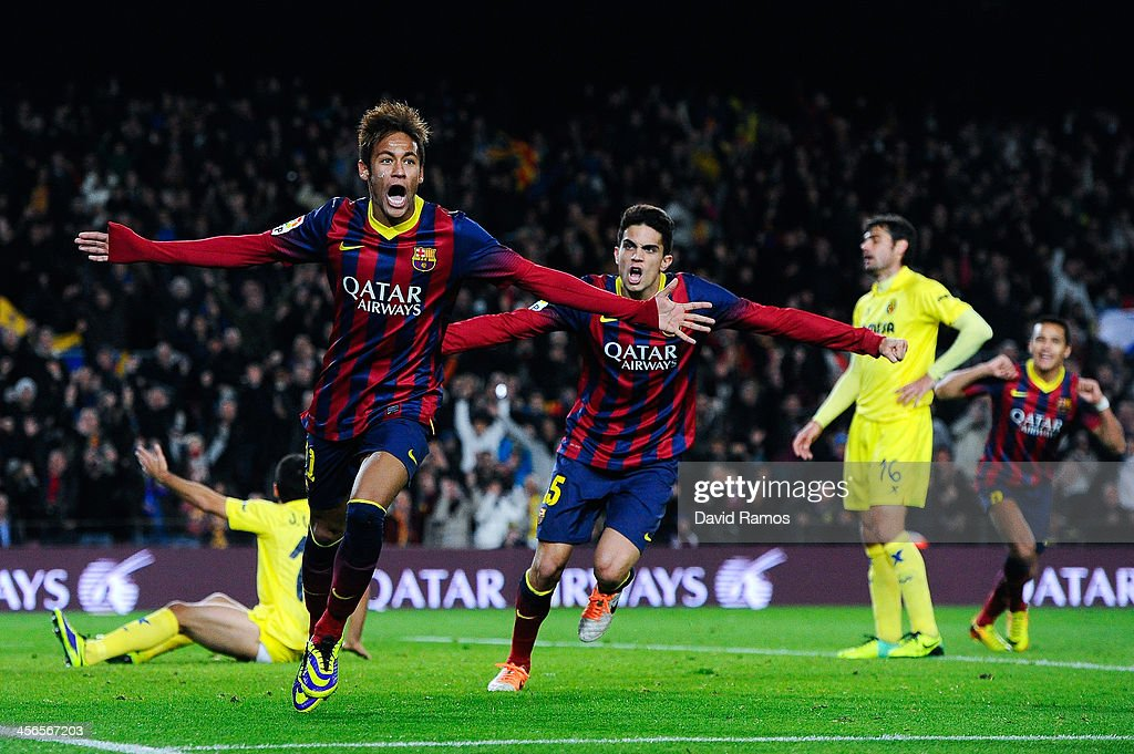 Neymar of FC Barcelona celebrates after scoring his team's second goal during the La Liga match between FC Barcelona and Villarreal CF at Camp Nou on December 14, 2013 in Barcelona, Spain.