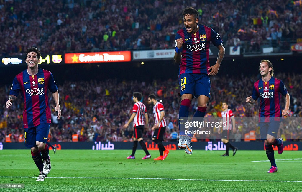 Neymar of FC Barcelona celebrates after scoring his team's second goal during the Copa del Rey Final match between FC Barcelona and Athletic Club at Camp Nou on May 30, 2015 in Barcelona, Spain.