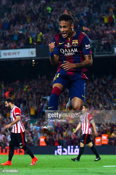Neymar of FC Barcelona celebrates after scoring his team's second goal during the Copa del Rey Final match between FC Barcelona and Athletic Club at...