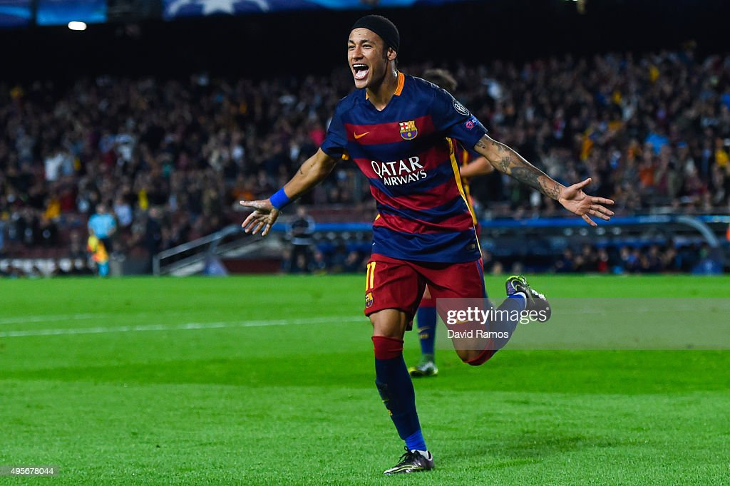 Neymar (R) of FC Barcelona celebrates after scoring his team's third goal during the UEFA Champions League Group E match between FC Barcelona and FC BATE Borisov at the Camp Nou on November 4, 2015 in Barcelona, Spain.