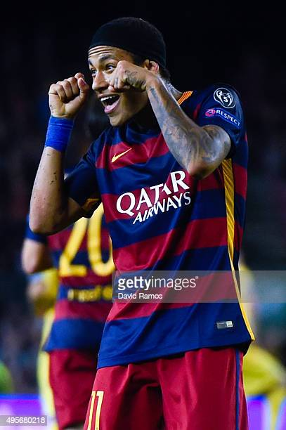 Neymar of FC Barcelona celebrates after scoring his team's third goalduring the UEFA Champions League Group E match between FC Barcelona and FC BATE...