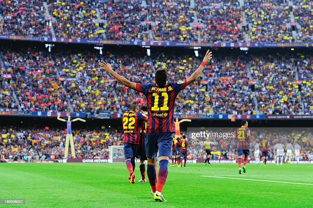 Neymar of FC Barcelona celebrates after scoring the opening goal during the La Liga match between FC Barcelona and Real Madrid CF at Camp Nou on October 26, 2013 in Barcelona, Spain.