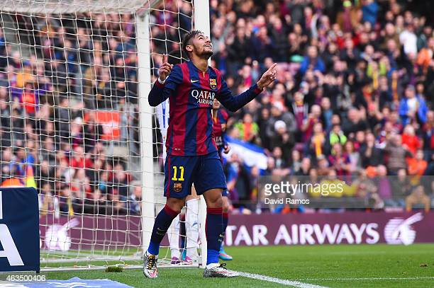 Neymar of FC Barcelona celebrates after scoring the opening goal during the La Liga match between FC Barcelona and Levante UD at Camp Nou on February...