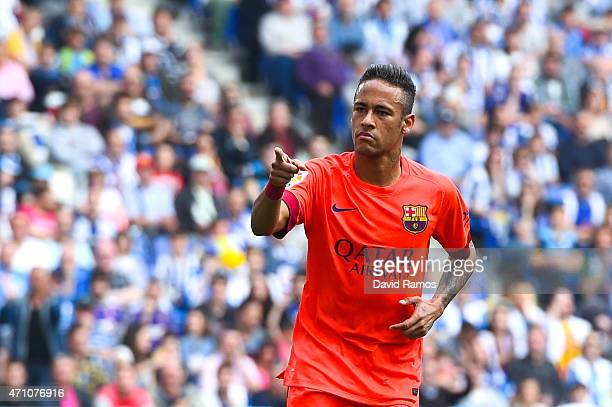 Neymar of FC Barcelona celebrates after scoring the opening goal during the La Liga match between RCD Espanyol and FC Barcelona at CornellaEl Prat...