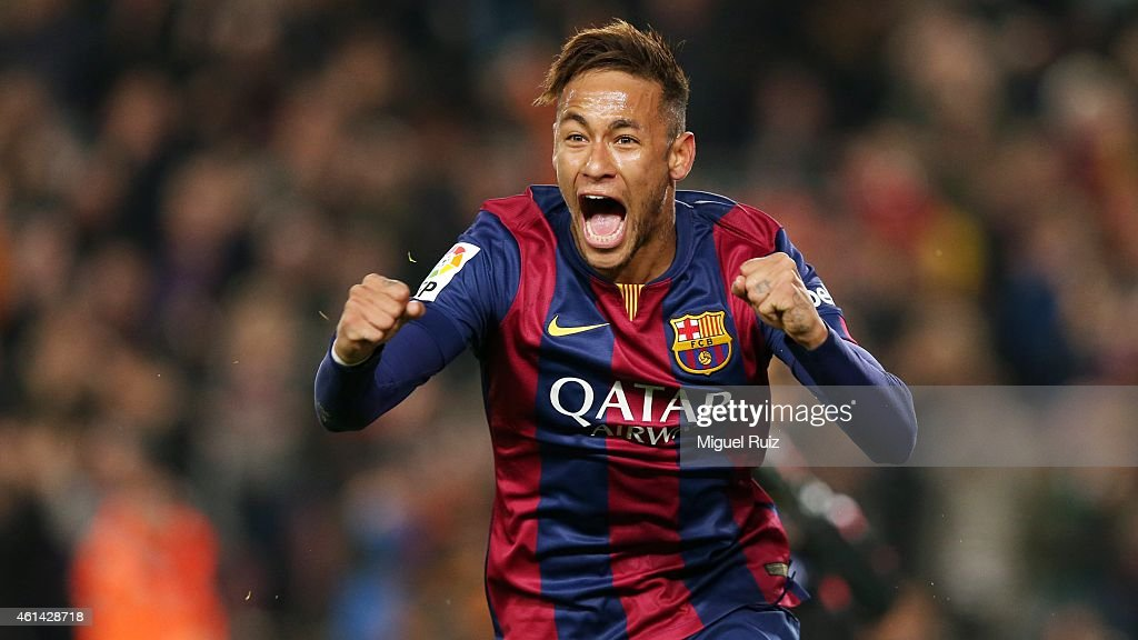 Neymar of FC Barcelona celebrates scoring during the La Liga match between FC Barcelona and Atletico Madrid at Camp Nou on January 11, 2015 in Barcelona, Spain.