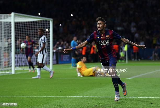 Neymar of FC Barcelona celebrates scoring his side's third goal during the UEFA Champions League Final match between Juventus and FC Barcelona at the...