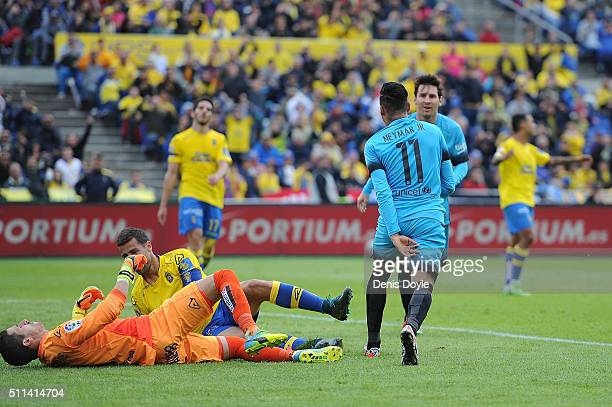 Neymar of FC Barcelona celebrates with Lionel Messi after scoring his team's 2nd goal during the La Liga match between UD Las Palmas and FC Barcelona...