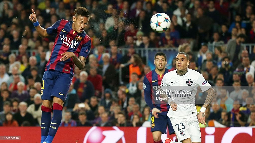 Neymar of FC Barcelona heads the ball and scores the second goal during the UEFA Champions League 1/4 2nd leg match between FC Barcelona and Paris Saint-Germain at Camp Nou on April 21, 2015 in Barcelona, Spain.