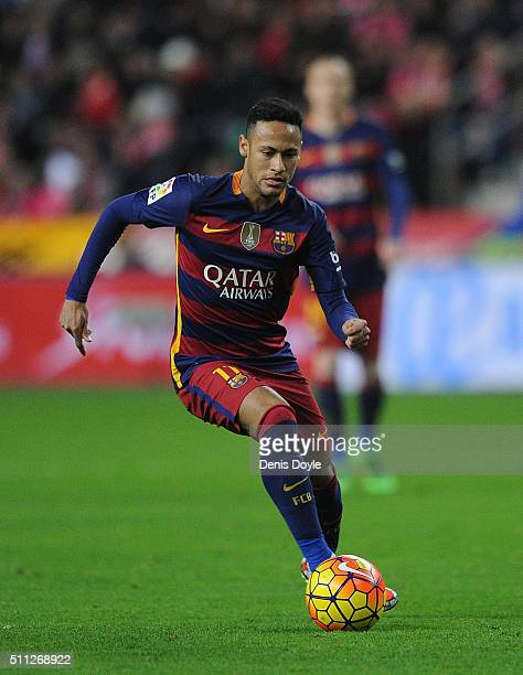 Neymar of FC Barcelona in action during the La Liga match between Sporting Gijon and FC Barcelona at Estadio El Molinon on February 17 2016 in Gijon...