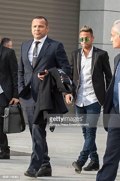Neymar of FC Barcelona leaves the National Court accompanied with his father Neymar da Silva Santos on February 2 2016 in Madrid Spain Neymar was...