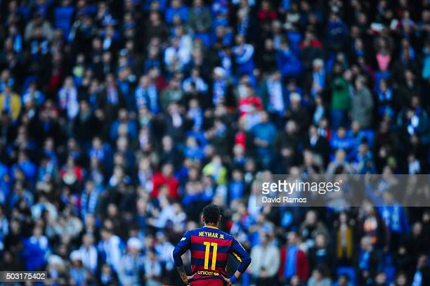 Neymar of FC Barcelona looks on during the La Liga match between RCD Espanyol and FC Barcelona at CornellaEl Prat Stadium on January 2 2016 in...