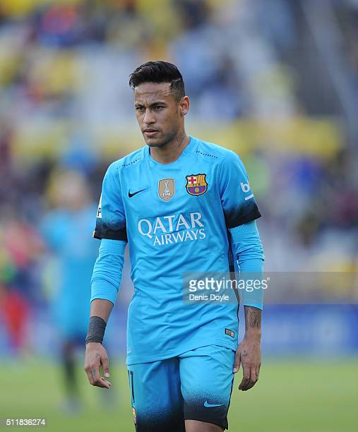 Neymar of FC Barcelona looks on during the La Liga match between UD Las Palmas and FC Barcelona at Estadio Gran Canaria on February 20 2016 in Las...