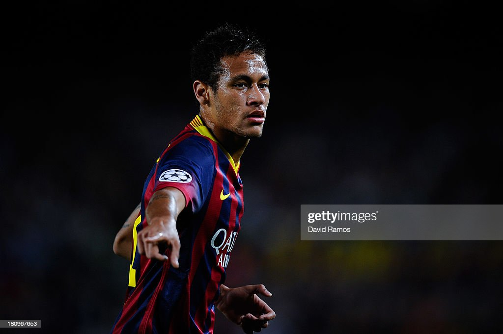 Neymar of FC Barcelona looks on during the UEFA Champions League Group H match between FC Barcelona and Ajax Amsterdam ag the Camp Nou stadium on September 18, 2013 in Barcelona, Spain.
