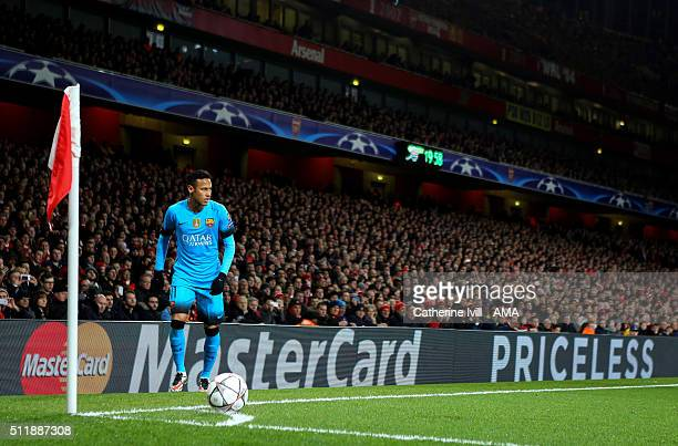 Neymar of FC Barcelona prepares to take a corner kick during the UEFA Champions League match between Arsenal and Barcelona at the Emirates Stadium on...