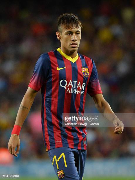 Neymar of FC Barcelona reacts during the Joan Gamper Trophy friendly match between FC Barcelona and Santos FC at the Camp Nou stadium in Barcelona...