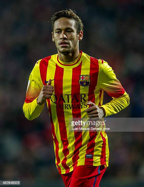 Neymar of FC Barcelona reacts during the La Liga match between Athletic Club and FC Barcelona at San Mames Stadium on December 1 2013 in Bilbao Spain