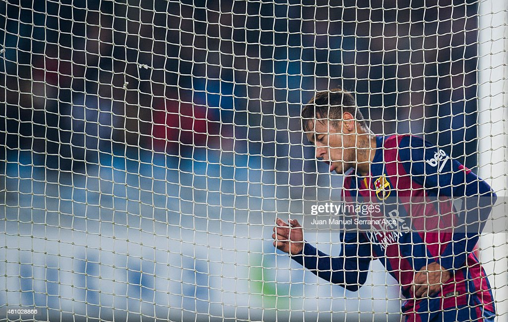 Neymar of FC Barcelona reacts during the La Liga match between Real Sociedad and Barcelona at Estadio Anoeta on January 4, 2015 in San Sebastian, Spain.