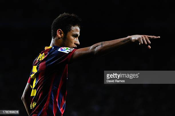 Neymar of FC Barcelona reacts during the Spanish Super Cup second leg match between FC Barcelona and Atletico de Madrid at Nou Camp on August 28 2013...