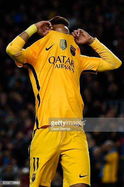 Neymar of FC Barcelona reacts during the UEFA Champions League quarter final first leg match between FC Barcelona and Club Atletico de Madrid at Camp...