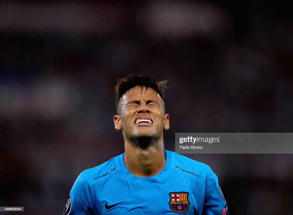 Neymar of FC Barcelona reacts during the UEFA Champions League Group E match between AS Roma and FC Barcelona at Stadio Olimpico on September 16, 2015 in Rome, Italy.