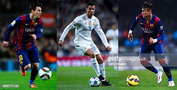 In this composite image a comparison has been made between Lionel Messi Cristiano Ronaldo and Neymar All three players have been short listed for the...