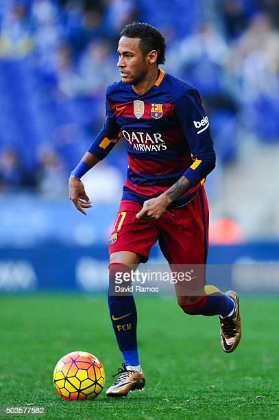 Neymar of FC Barcelona runs with the ball during the La Liga match between RCD Espanyol and FC Barcelona at CornellaEl Prat Stadium on January 2 2016...