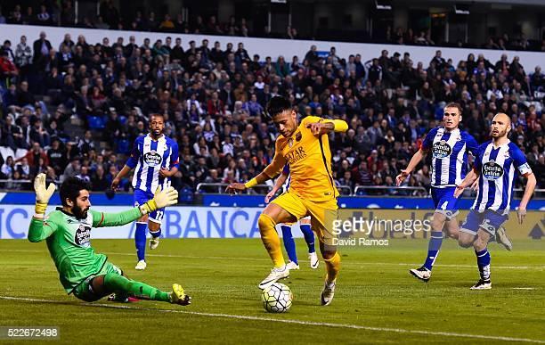 Neymar of FC Barcelona scores his team's eighth goal during the La Liga match between RC Deportivo La Coruna and FC Barcelona at Riazor Stadium on...