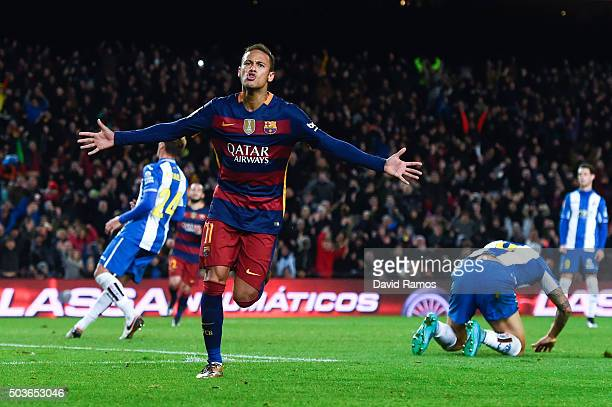 Neymar of FC Barcelona scores his team's fourth goal during the Copa del Rey Round of 16 first leg match between FC Barcelona and RCD Espanyol at...