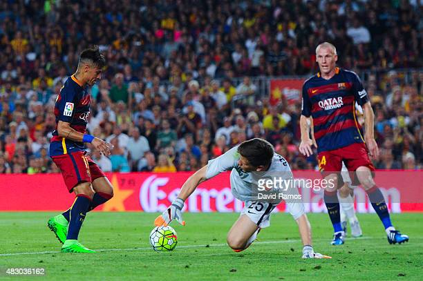 Neymar of FC Barcelona scores the opening goal during the Joan Gamper trophy match at Camp Nou on August 5 2015 in Barcelona Spain