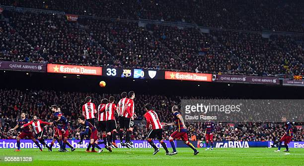 Neymar of FC Barcelona takes a free kick during the La Liga match between FC Barcelona and Athletic Club de Bilbao at Camp Nou on January 17 2016 in...