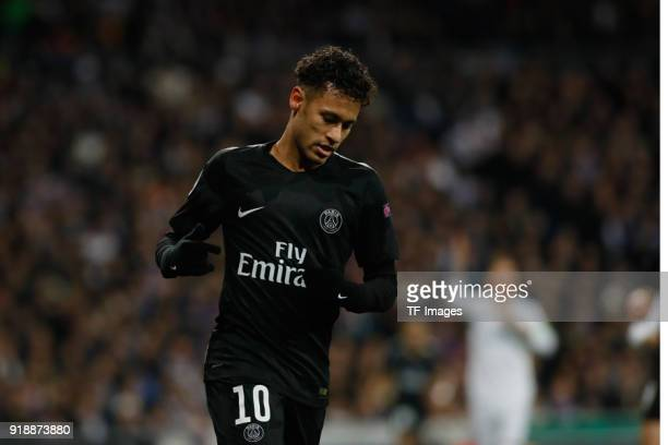 Neymar of Paris looks on during the UEFA Champions League Round of 16 First Leg match between Real Madrid and Paris SaintGermain at Bernabeu on...