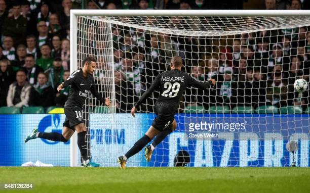 Neymar of Paris Saint Germain celebrates his goal during the UEFA Champions League Match between Celtic and Paris Saint Germain at Celtic Park...