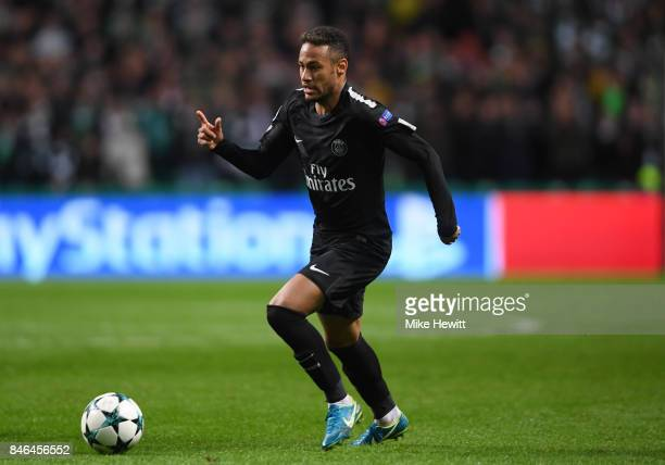 Neymar of Paris Saint Germain in action during the UEFA Champions League Group B match between Celtic and Paris Saint Germain at Celtic Park on...