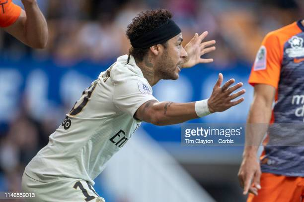 Neymar of Paris SaintGermain appeals for a free kick during the Montpellier Vs Paris SaintGermain French Ligue 1 regular season match at Stade de la...