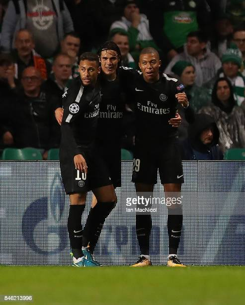 Neymar of Paris SaintGermain celebrates after he scores the opening goal during the UEFA Champions League Group B match Between Celtic and Paris...
