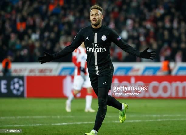 Neymar of Paris SaintGermain celebrates after scoring a goal during the UEFA Champions League Group C match between Red Star Belgrade and Paris...
