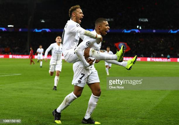 Neymar of Paris SaintGermain celebrates after scoring his team's second goal with Kylian Mbappe of Paris SaintGermain during the UEFA Champions...