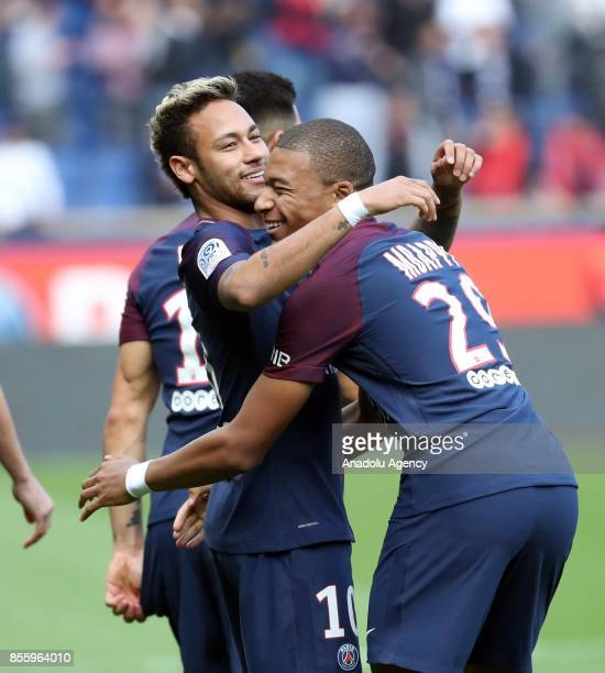 Neymar of Paris SaintGermain celebrates his score with Kylian Mbappe during the French Ligue 1 football match between Paris SaintGermain and Bordeaux...