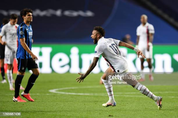 Neymar of Paris SaintGermain celebrates victory after the UEFA Champions League Quarter Final match between Atalanta and Paris SaintGermain at...