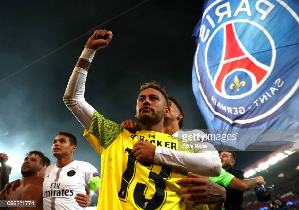 Neymar of Paris SaintGermain celebrates victory following the UEFA Champions League Group C match between Paris SaintGermain and Liverpool at Parc...